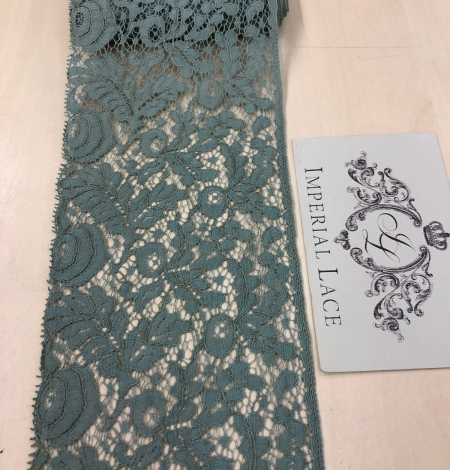 Blue-green with grey shade vintage style lace trim. Photo 4