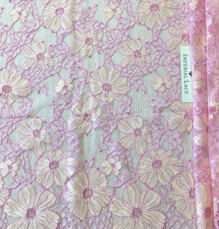 Pink with light yellow lace fabric. Photo 7