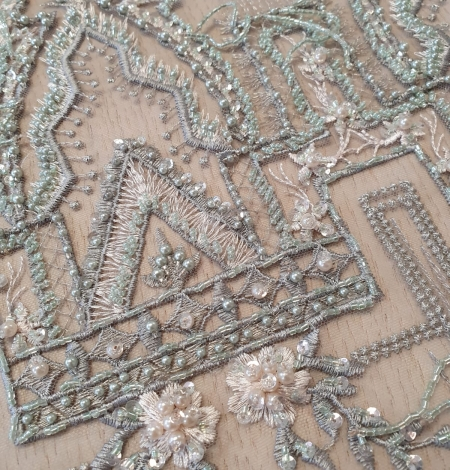 Greyish green beaded with hanging details embroidery on tulle. Photo 5