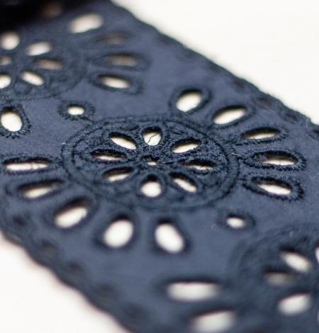 Black floral embroidery on cotton lace trim. Photo 3