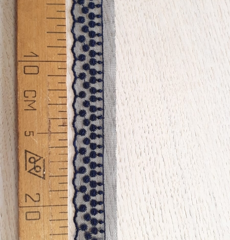 Dark blue dots on tulle lace trimming. Photo 6