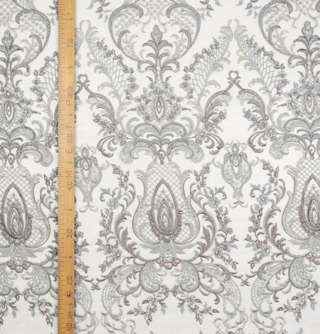 Grey beaded embroidery lace fabric. Photo 8