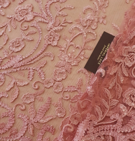 Raspberry pink floral pattern embroidery with sequins on soft tulle fabric. Photo 2