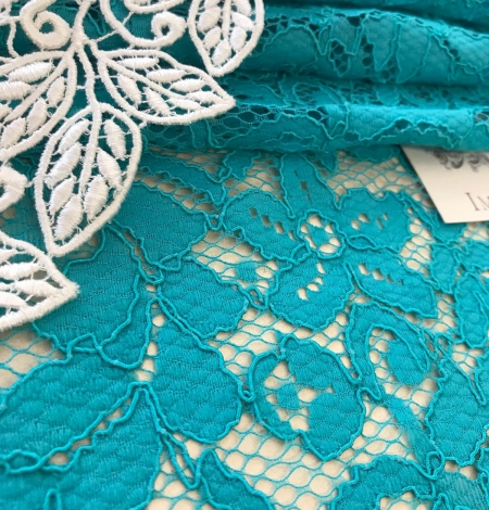 Blue French lace fabric. Photo 3