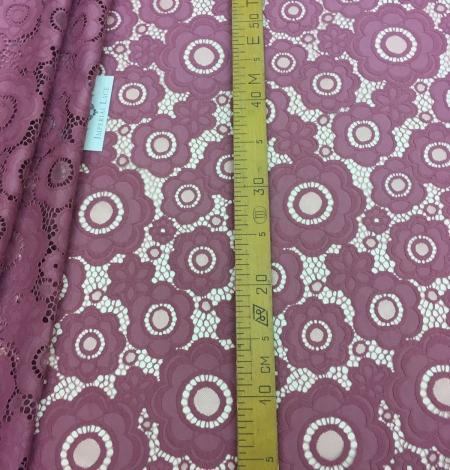 Dark Raspberry Red Lace Fabric. Photo 4