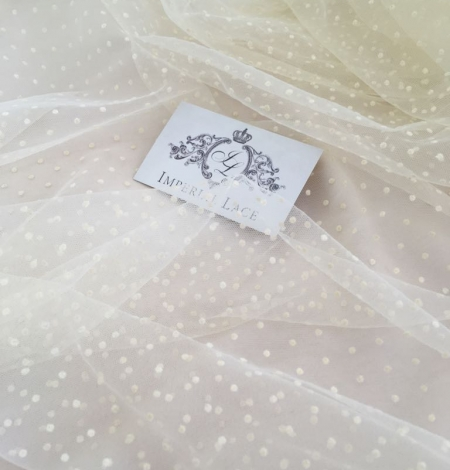 Creme color tulle fabric with dots. Photo 2