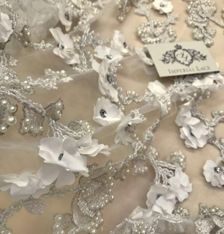 White with silver thread beaded lace fabric. Photo 2