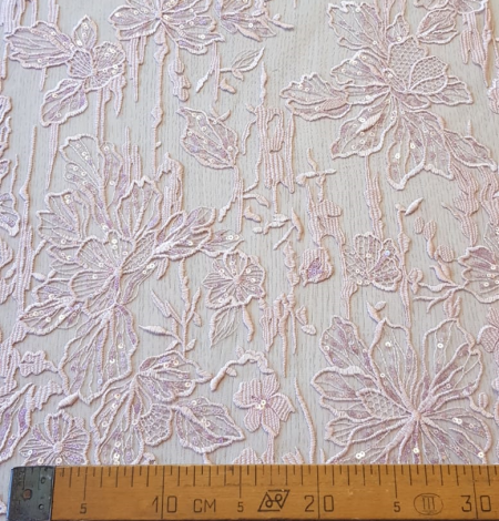 Pink embroidery on light grey tulle. Photo 11