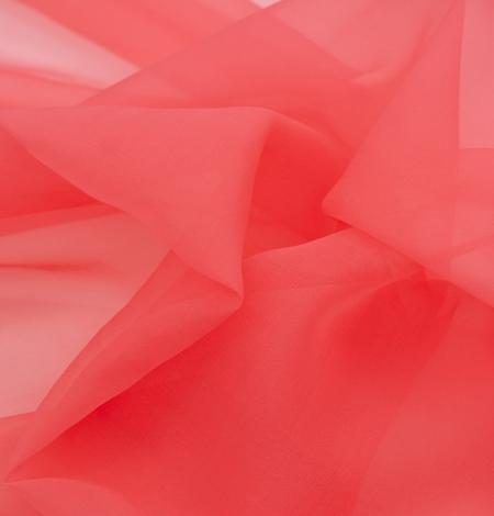 Coral orange silk organza fabric. Photo 5