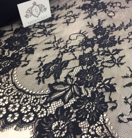 Black lace fabric Chantilly Lace. Photo 1