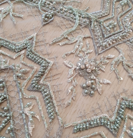 Greyish green beaded with hanging details embroidery on tulle. Photo 6