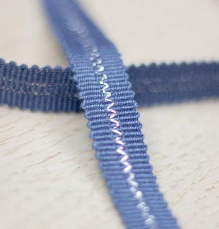 Greyish blue with silver thread in middle grosgrain ribbon. Photo 1