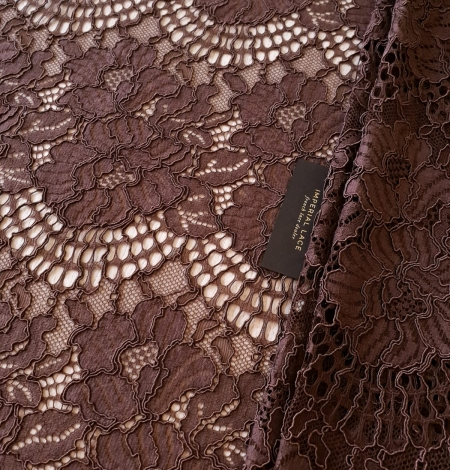 Brown floral guipure lace fabric . Photo 1