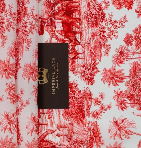 Red with orange shade printed silk crepe fabric. Photo 2