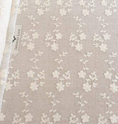Ecru embroidery lace fabric. Photo 4