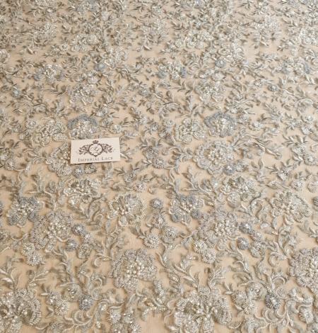 Grayish green beaded lace fabric. Photo 4