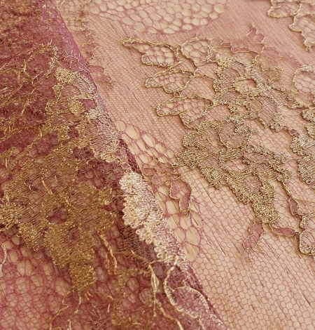Raspberry red with gold metallic thread natural lace fabric. Photo 4