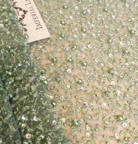 Green beaded lace fabric. Photo 2