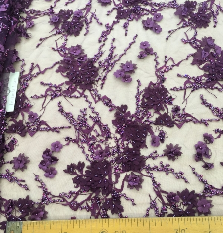 Lilac 3D floral beaded lace fabric. Photo 6