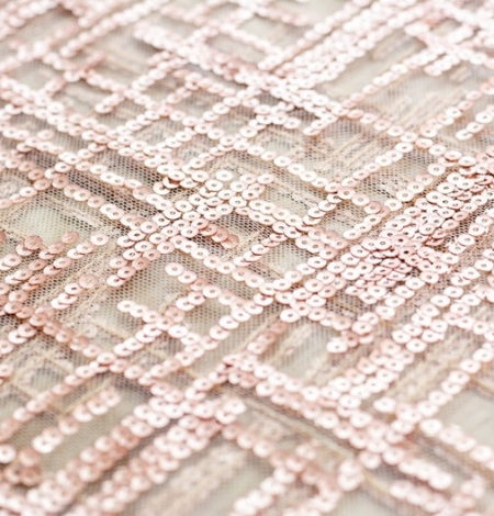 Rose gold sequins embroidered fabric . Photo 4