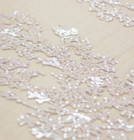 Nude organic pattern embroidery with sequins on tulle fabric. Photo 5