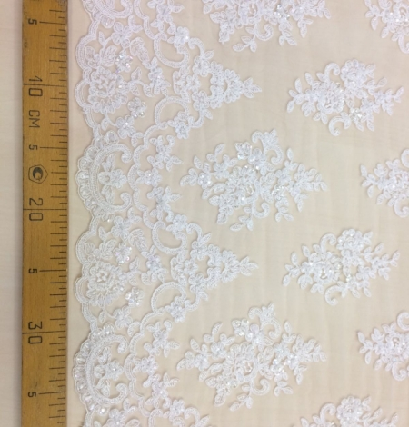 Off white beaded  lace fabric. Photo 5