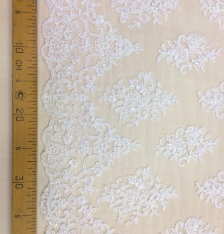 Ivory beads Lace fabric. Photo 5