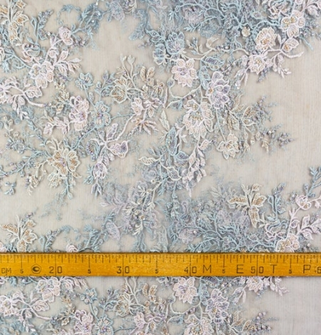 Greyish pink embroidery on grey tulle fabric. Photo 8