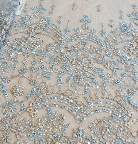 Grey blue beaded lace fabric. Photo 1
