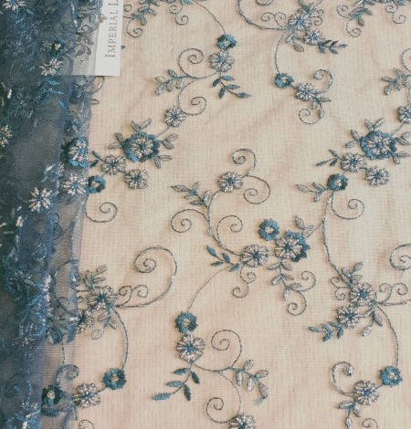 Turquoise embroidery lace fabric. Photo 2