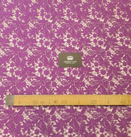 Lilac wool floral pattern macrame lace fabric. Photo 4