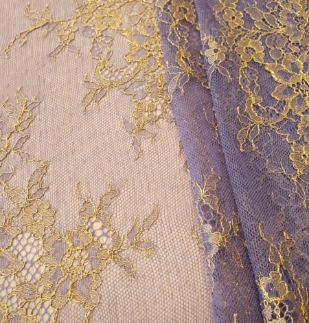 Purple with gold chantilly lace fabric. Photo 5
