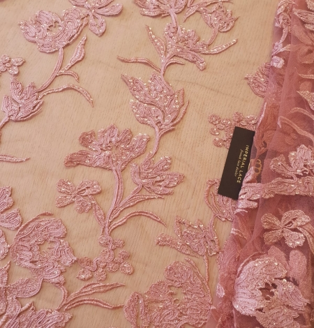 Raspberry pink floral pattern embroidery sequins on soft tulle fabric. Photo 1
