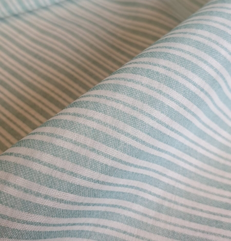 Blue stripes with white viscose fabric. Photo 4