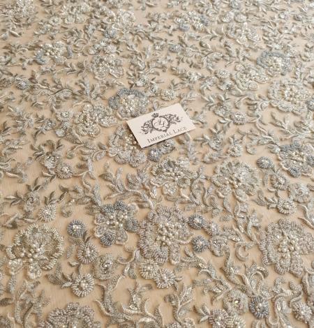 Grayish green beaded lace fabric. Photo 3
