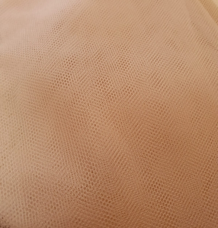 Nude 100% polyamide clear invisible tulle fabric. Photo 6
