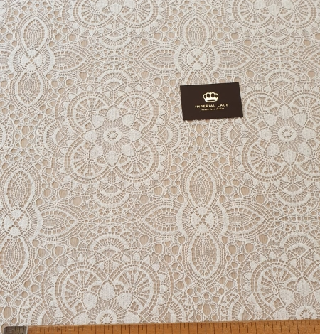 Ivory 70% polyester 30% cotton guipure lace fabric. Photo 9