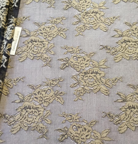 Black with beige flowers lace fabric. Photo 4