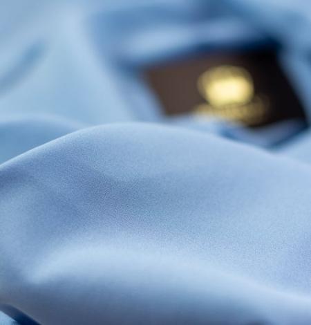 Blue silk with elastane crepe fabric. Photo 7