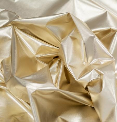 Gold color shiny rain coat fabric. Photo 4