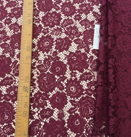 Wine red lace fabric. Photo 9