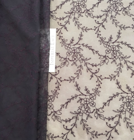 Dark lilac lace fabric. Photo 2