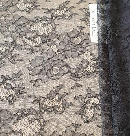 Black elastic chantilly lace fabric. Photo 1
