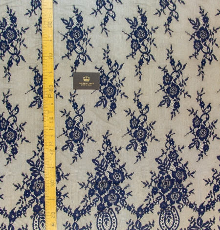 Dark blue floral pattern chantilly lace fabric. Photo 7