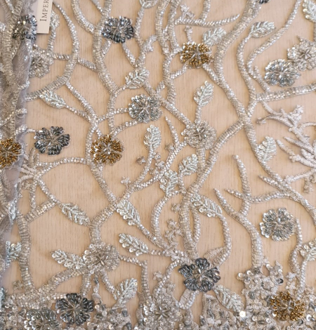 Grey beaded lace fabric. Photo 4