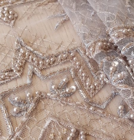 Beigish gray geometric with hanging details beaded lace fabrics. Photo 2