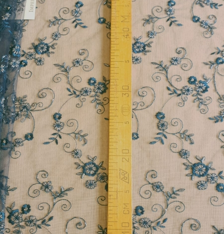 Turquoise embroidery lace fabric. Photo 5