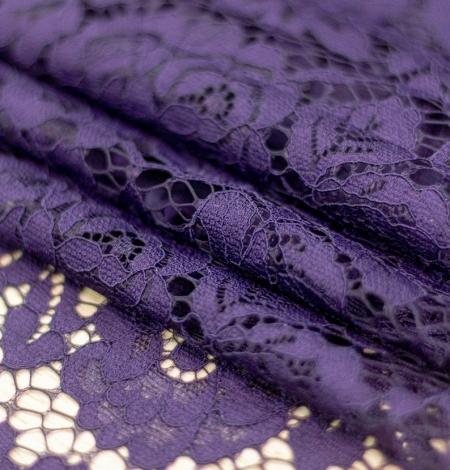 Dark purple floral guipure lace fabric . Photo 3