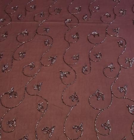 Lilac embroidery on silk chiffon fabric. Photo 4
