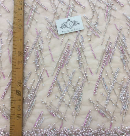 Pink beaded lace fabric. Photo 9